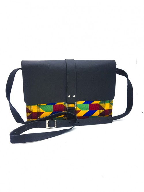 Kente King Box Bag II (Black Leather)