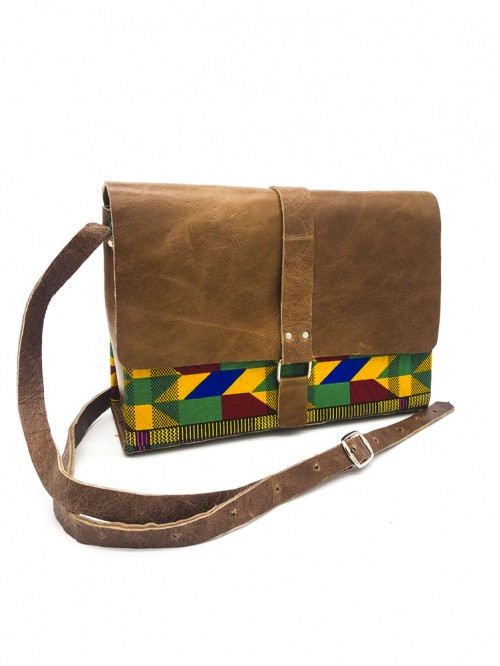 Kente King Box Bag II (Brown Leather)