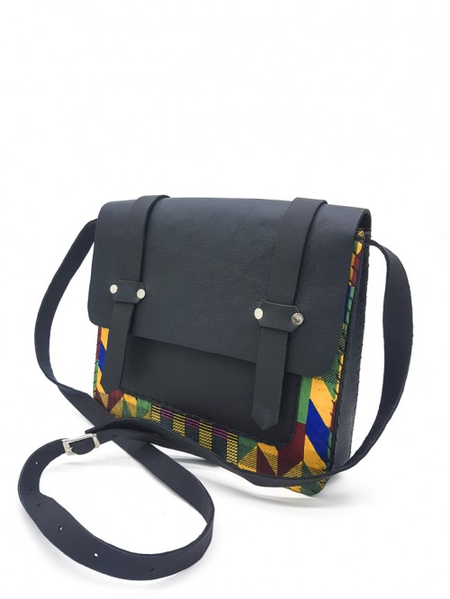 Kente King Box Bag I (Black Leather)