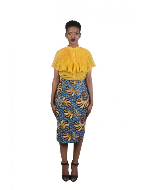 Blue Yellow Pencil Skirt