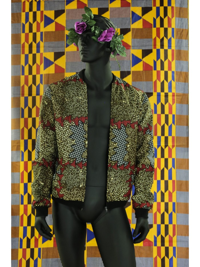 Brown Afriprint Bomber